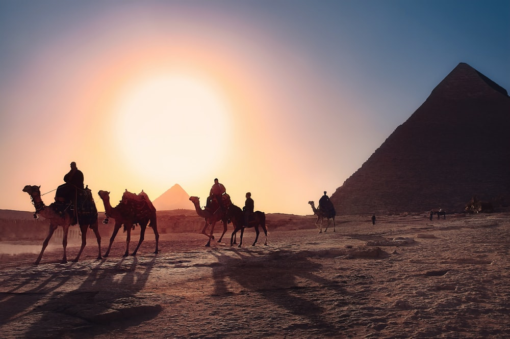 five persons riding camels walking on sand beside Pyramid of Egypt